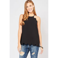 Load image into Gallery viewer, Black Sleeveless Scalloped Top - June Adel