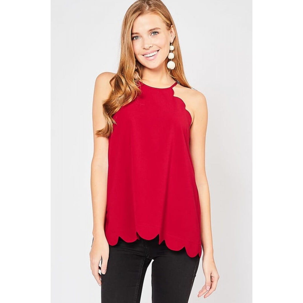 Burgundy Sleeveless Scalloped Top - June Adel