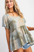 Load image into Gallery viewer, Tiered Tie Dye Top in Olive Mix - June Adel