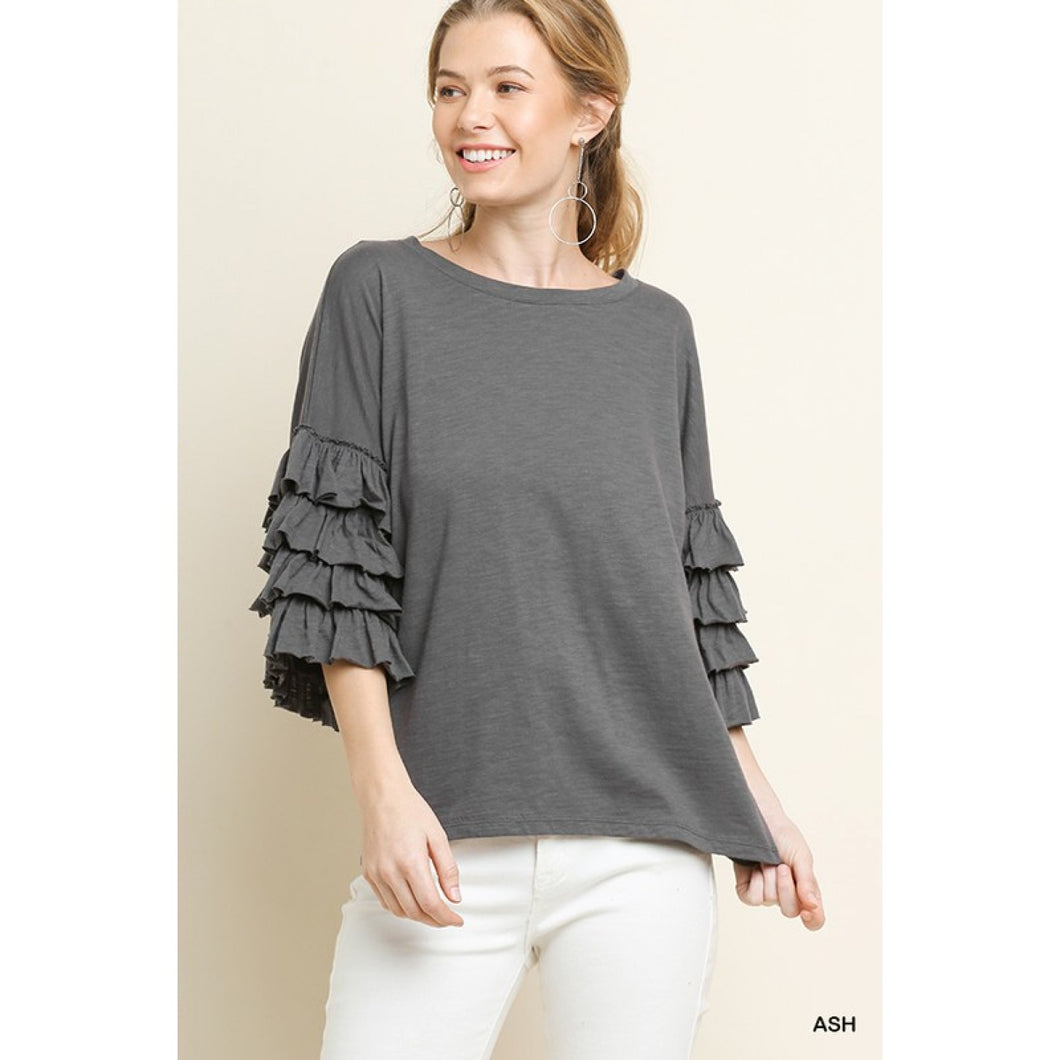 Ash Gray Top with Layered Ruffle Sleeves - June Adel