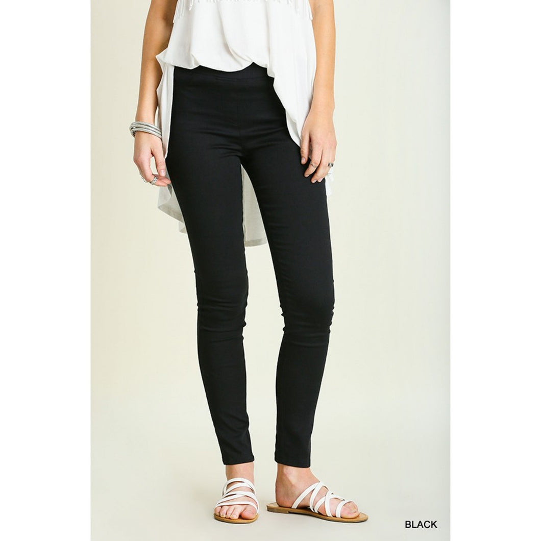 Black Leggings with Elastic Waistband - June Adel