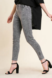 Charcoal Mineral Washed Leggings with Seamed Details and Side Zippers - June Adel