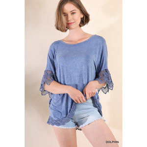 Mineral Wash Top with Crochet Trim in Dolphin Blue - June Adel