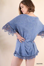 Load image into Gallery viewer, Mineral Wash Top with Crochet Trim in Dolphin Blue - June Adel