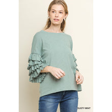 Load image into Gallery viewer, Dusty Mint Top with Layered Ruffle Sleeves - June Adel