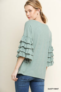 Dusty Mint Top with Layered Ruffle Sleeves - June Adel