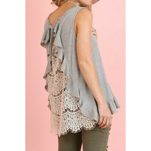 Gray Sleeveless Top with Ruffled Back and Sheer Lace Back - June Adel