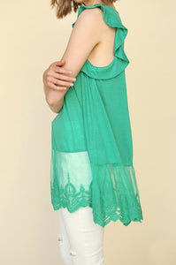 Kelly Green Sleeveless Tunic Top with Ruffled Shoulders and Lace Hem - June Adel