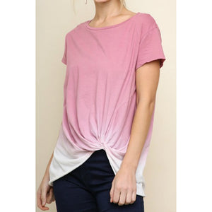 Mauve Short Sleeve Ombre Top with Scrunched Detail - June Adel
