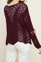 Load image into Gallery viewer, Merlot Crochet Sweater with Scalloped Hem - June Adel