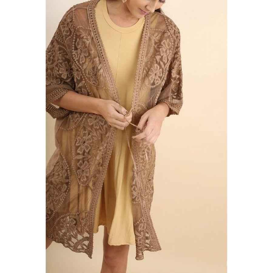 Embroidered Lace Mocha Kimono - June Adel