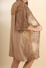 Load image into Gallery viewer, Embroidered Lace Mocha Kimono - June Adel