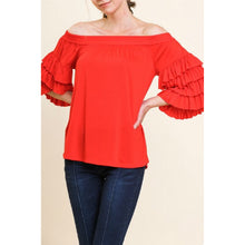 Load image into Gallery viewer, Red Off Shoulder Top with Tiered Ruffle Sleeves - June Adel
