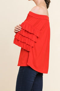Red Off Shoulder Top with Tiered Ruffle Sleeves - June Adel