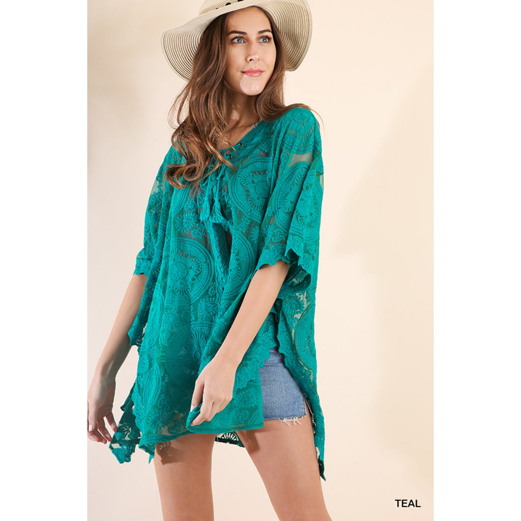 Teal Lace Tunic with Dolman Sleeves and Tassel Tie Neckline - June Adel