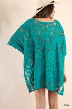 Load image into Gallery viewer, Teal Lace Tunic with Dolman Sleeves and Tassel Tie Neckline - June Adel