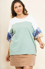 Load image into Gallery viewer, Umgee Color Block Top with Paisley Layered Sleeves in Sage - June Adel
