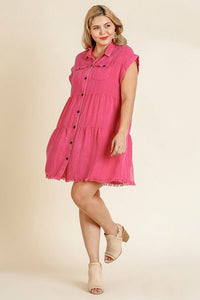 Umgee Hot Pink Tiered Dress with Frayed Hem - June Adel