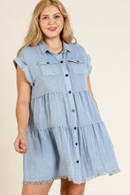 Load image into Gallery viewer, Umgee Light Denim Tiered Dress with Frayed Hem - June Adel