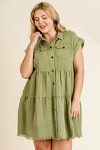 Load image into Gallery viewer, Umgee Olive Tiered Dress with Frayed Hem
