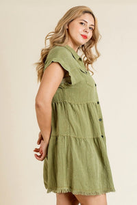 Umgee Olive Tiered Dress with Frayed Hem