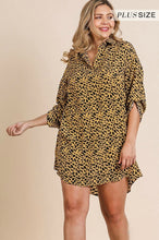 Load image into Gallery viewer, Umgee Honey Animal Print Dress with Roll Up Sleeves - June Adel