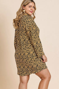 Umgee Honey Animal Print Dress with Roll Up Sleeves - June Adel