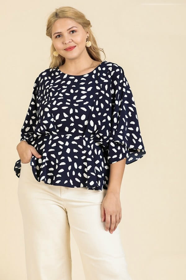 Umgee Dalmatian Print Peplum Top in Navy - June Adel
