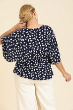 Load image into Gallery viewer, Umgee Dalmatian Print Peplum Top in Navy - June Adel