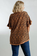 Load image into Gallery viewer, Umgee Soft Clay Mix Animal Print Top with Frayed Trim