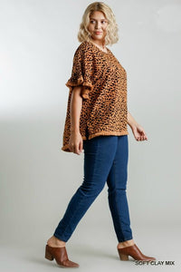 Umgee Soft Clay Mix Animal Print Top with Frayed Trim