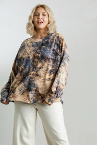 Umgee Long Sleeve Tie Dye Top in Golden Yellow
