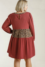 Load image into Gallery viewer, Umgee Red Brick and Leopard Print Dress