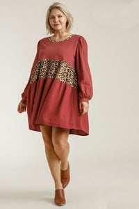 Umgee Red Brick and Leopard Print Dress