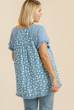 Load image into Gallery viewer, Umgee Light Blue Top with Dalmatian Print Back