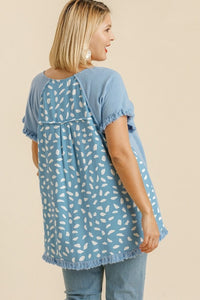 Umgee Light Blue Top with Dalmatian Print Back