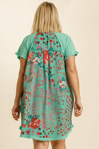 Umgee Emerald Dress with Printed Back