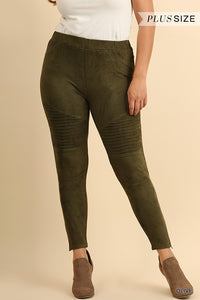 Olive Suede Moto Jeggings with Ankle Zippers - June Adel