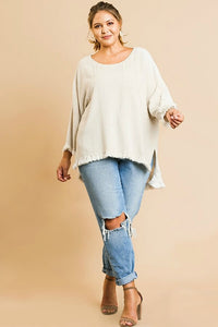 Umgee Oatmeal Top with Front Pocket and Frayed Hem - June Adel