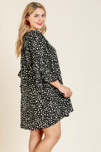 Load image into Gallery viewer, Umgee Dalmatian Print Split Neck Dress in Black