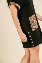 Load image into Gallery viewer, Umgee Black Dress with Animal Print Trim and Front Pockets
