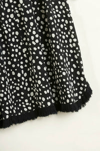 Umgee Black Button Front Top with Dalmatian Print Back