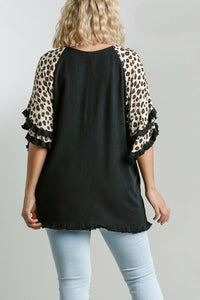 Umgee Black Top with Animal Print Layered Sleeves