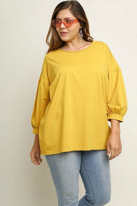 Umgee Balloon Sleeve Top in Goldenrod