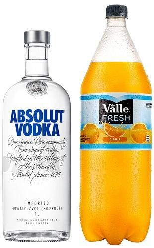 Absolut - Pack (Vodka Absolut Blue Suecia 1000cc + 1 Del Valle Naranja 2Lts)