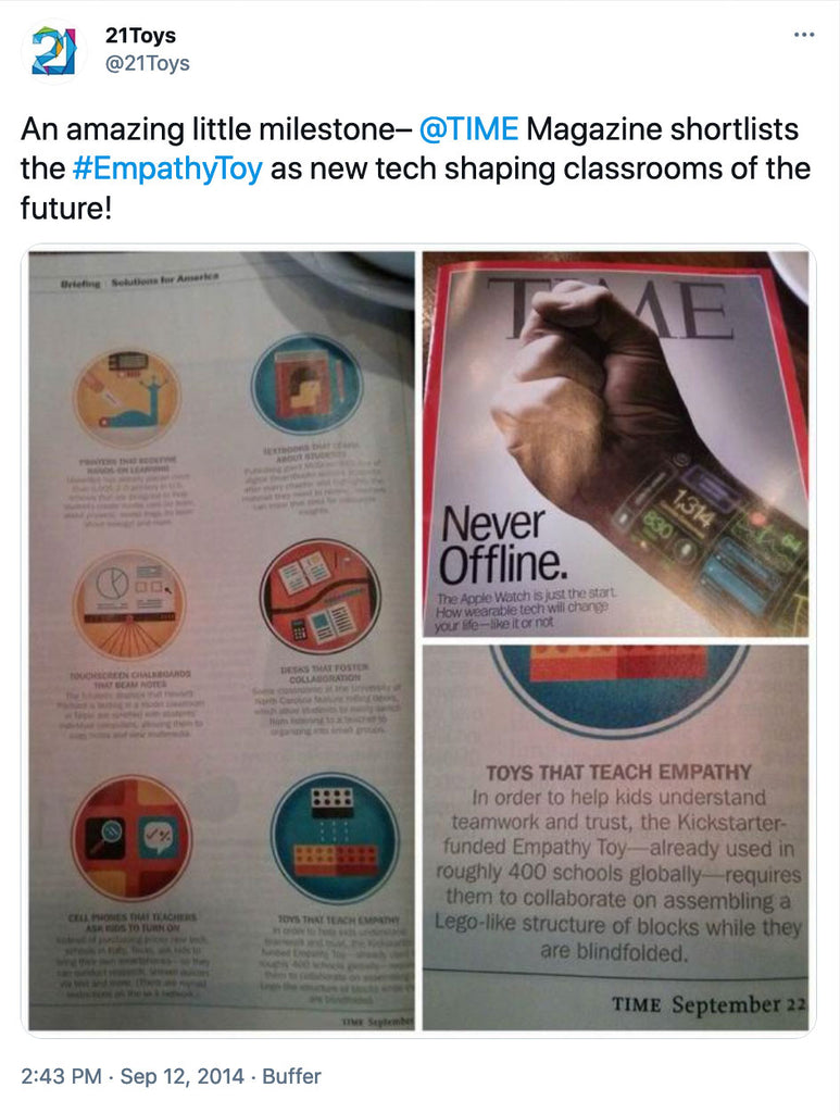 An amazing little milestone– @TIME  Magazine shortlists the #EmpathyToy as new tech shaping classrooms of the future!