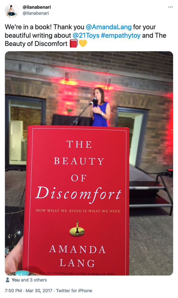 We're in a book! Thank you @AmandaLang  for your beautiful writing about @21Toys  #empathytoy and The Beauty of Discomfort