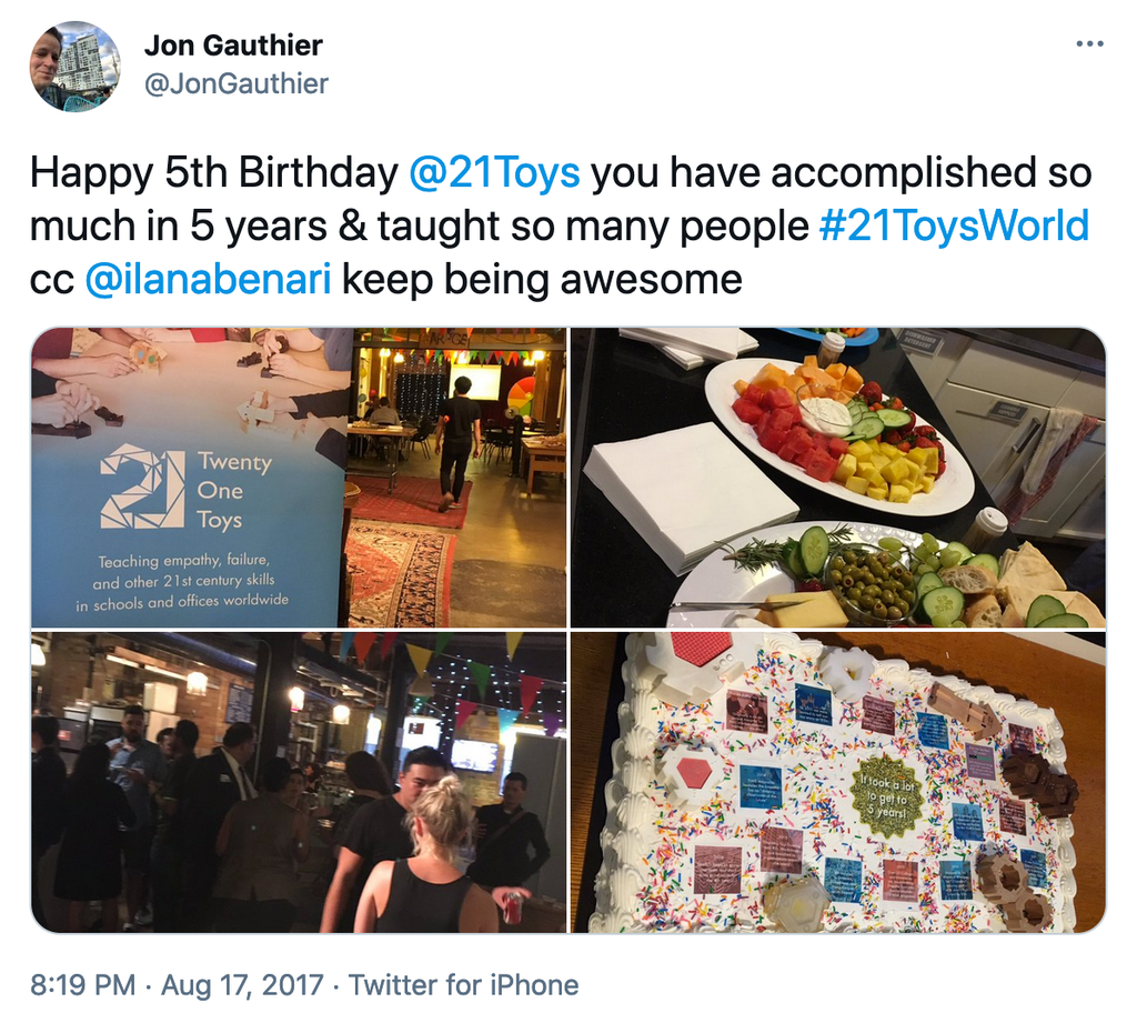 Happy 5th Birthday @21Toys  you have accomplished so much in 5 years & taught so many people #21ToysWorld cc @ilanabenari  keep being awesome