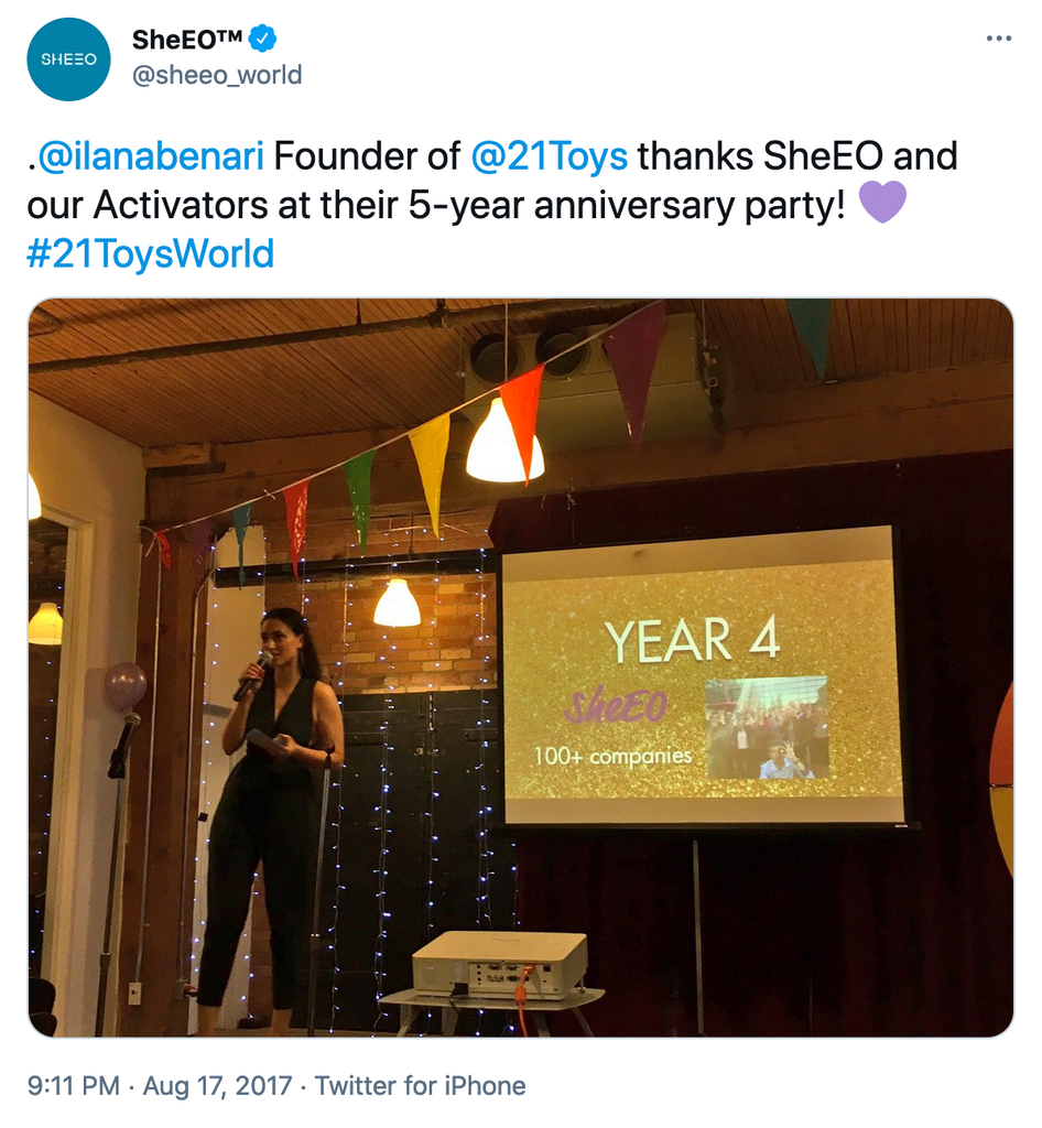 @ilanabenari  Founder of @21Toys  thanks SheEO and our Activators at their 5-year anniversary party!  💜 #21ToysWorld