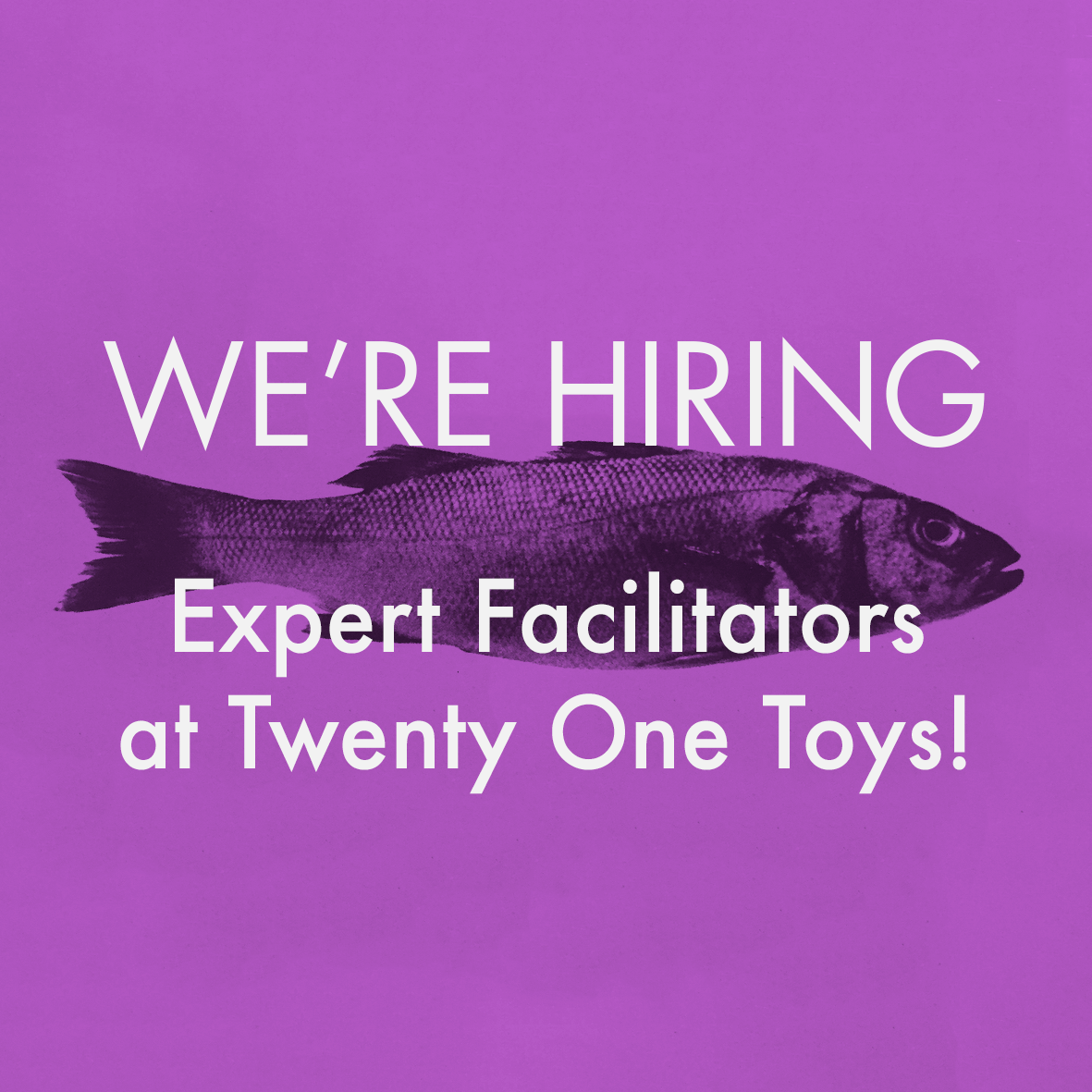 We're hiring Expert Facilitators at Twenty One Toys!